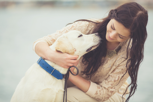 ragazza abbraccia labrador