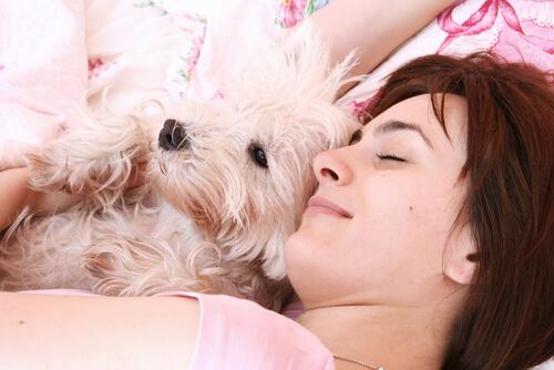ragazza dorme con il suo cane