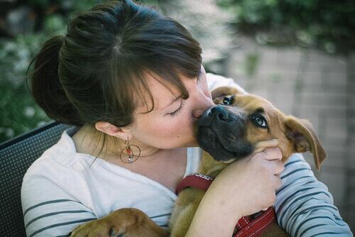 donna che bacia cane