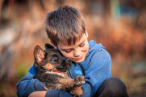 Bambino con cane sordo