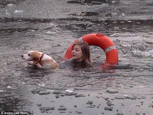 Una donna si tuffa in un lago gelato per salvare un cane
