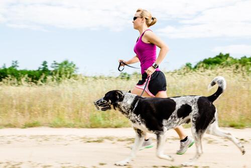 donna e cane che corrono su strada sterrata