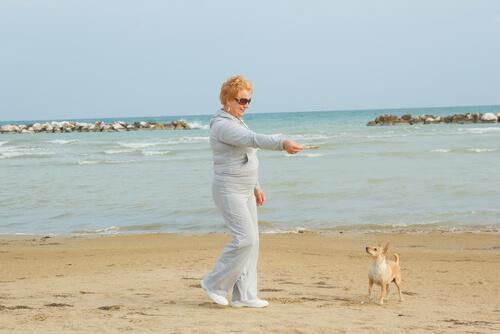 donna in spiaggia gioca con cane