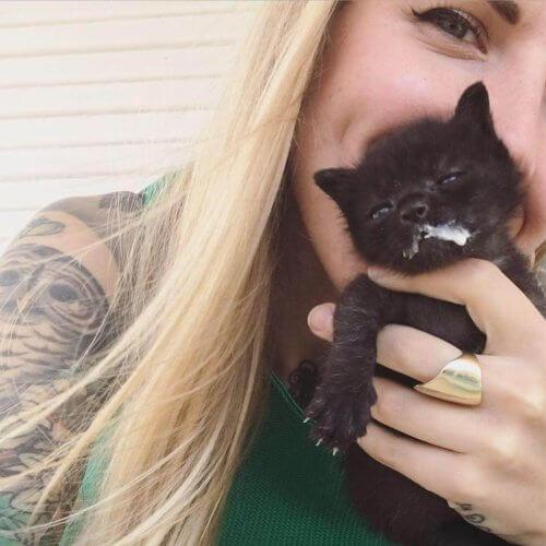 Kitten Lady e gattino con il muso sporco di latte