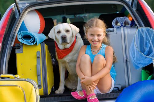 cane con bambina e valigie nel portabagagli