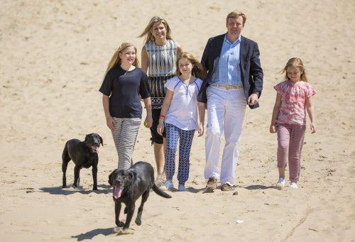 la famiglia reale olandese in spiaggia con i cani