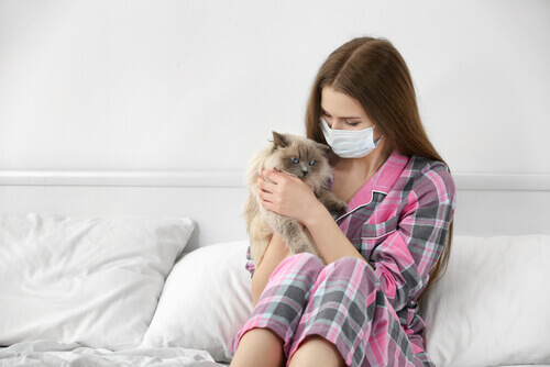 ragazza con mascherina tiene in braccio un gatto