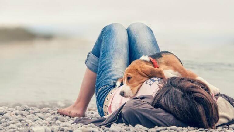 una ragazza sdraiata sulla spiaggia con il cane sopra