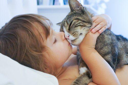 bambina sdraiata coccola il suo gatto