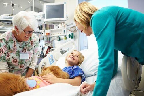 un cane usato per la terapia con bambini malati