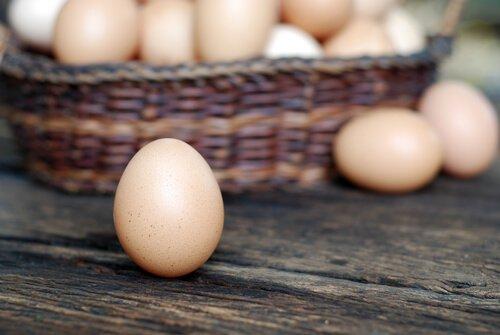un cesto di uova di gallina sparse