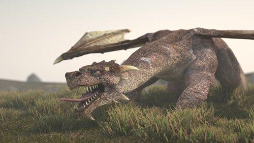 un drago ricostruito con la tecnica 3d