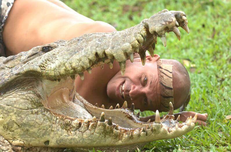 testa di uomo vicino a coccodrillo