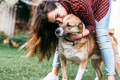 ragazza bacia il cane