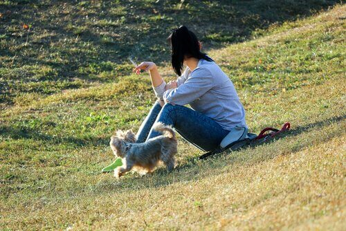 padrona fuma al parco mentre sta col suo cane