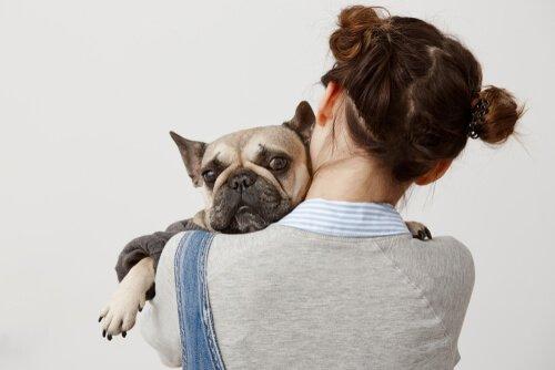 Ragazza abbraccia cane spaventato