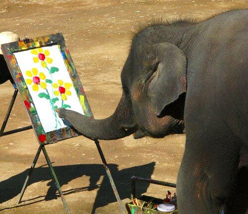 Elefante che dipinge