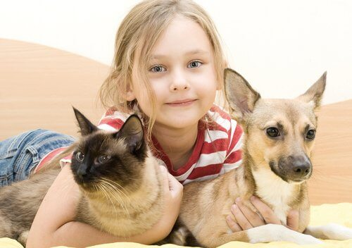 Bambina abbraccia cane e gatto