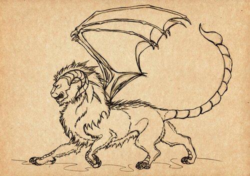 Manticora disegnata su pergamena