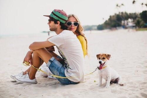 Fidanzati in spiaggia con il cane