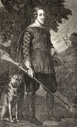 Cacciatore con un cane in un dipinto antico