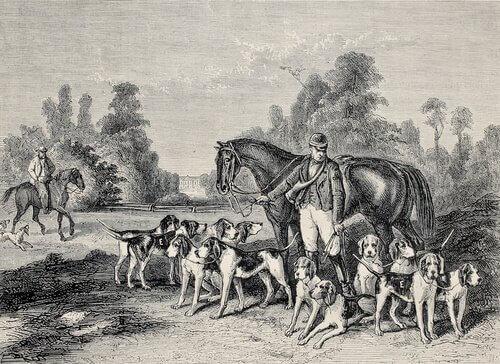 Cani dipinti con cacciatore su una tela