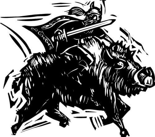 Vichingo a cavallo di un cinghiale disegnato