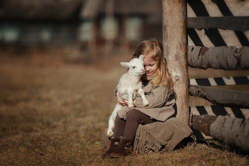 bambina seduta abbraccia piccolo agnellino