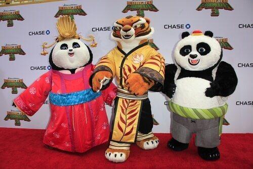 tre pupazzi di animali di Kung Fu Panda