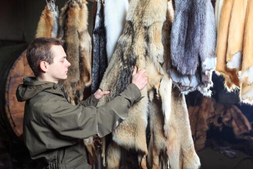 Uomo con pellicce di animali