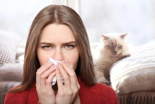 Donna che si soffia il naso con gatto