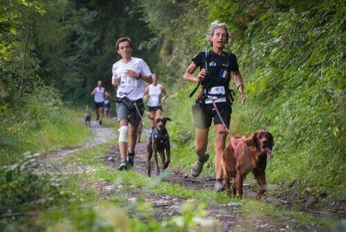 Persone corrono con cani
