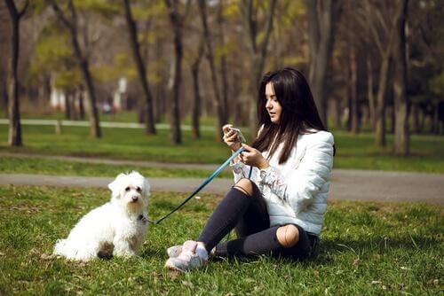 Padrona con cane piccolo al parco