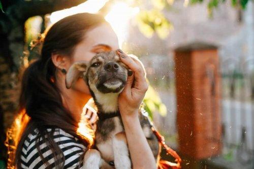 padrona che abbraccia cane