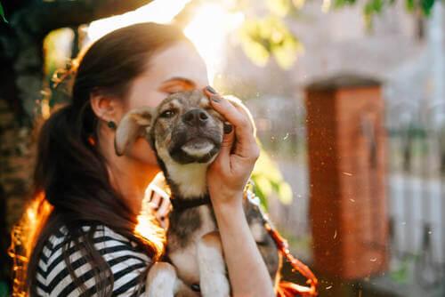 Adottare un cane: donna fa le coccole al suo cane.