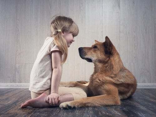 Bambina con il suo cane