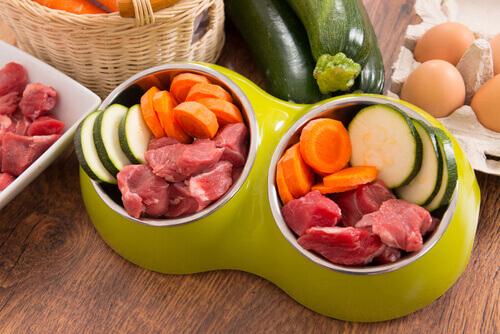 Ciotole piene di carne e verdure