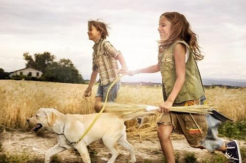 Cane corre con bambini.