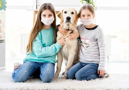Bambine con la mascherina e il loro cane.