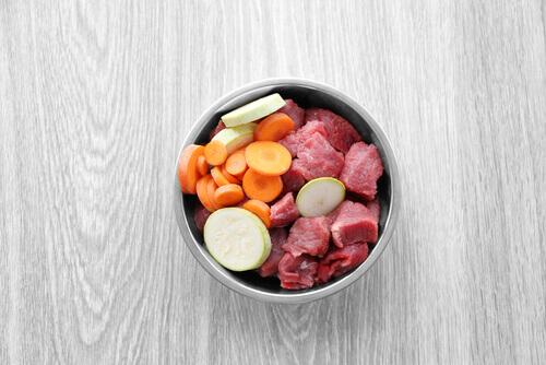 Porzione di cibo per il cane con carne e verdura.